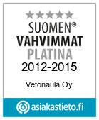 Vetonaulalle myönnetty Suomen Vahvimmat Platina Sertifikaatti