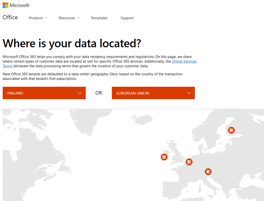 Microsoft Office 365 where is your data located